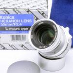 KONICA コニカ HEXANON ヘキサノン 50mm F2.4 Lマウント(2000本限定生産)+ 元箱一式